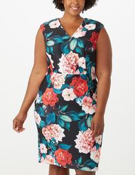 Iconic American Designer Plus Size Floral V-Neck Scuba Sheath Dress