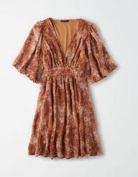 AE Studio Chiffon V-Neck Mini Dress