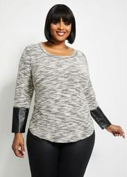 Faux Leather Cuffs Sweater