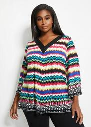 Abstract Stripe A-Line Top