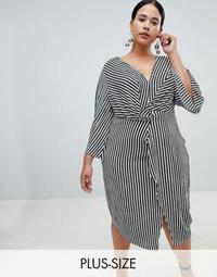Missguided Plus Stripe Twist Front Midi Dress