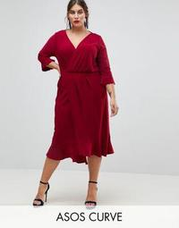 ASOS CURVE Wrap Front Midi Dress with Frill Detail