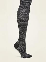 Fair Isle Control Top Knit Tights for Women