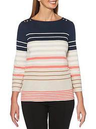 Petite Striped Cotton-Blend Top