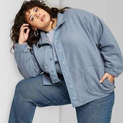 Women's Plus Size Snap Up Sherpa Jacket - Wild Fable™ Blue