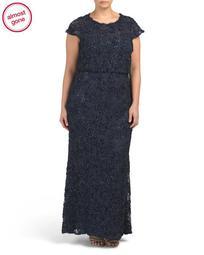 Plus Sequin Lace Blouson Gown