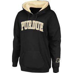 Women's Stadium Athletic Black Purdue Boilermakers Arch Name Pullover Hoodie