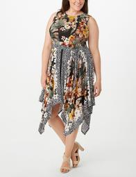 Plus Size Printed Tied-Front Sharkbite-Hem Dress