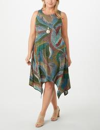 Leaf-Printed Sharkbite-Hem A-Line Dress