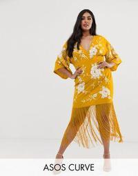 ASOS DESIGN Curve kimono sleeve midi dress with embroidery and fringe