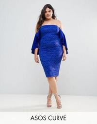 ASOS CURVE Lace Bardot Midi Dress With Extreme Sleeves
