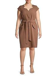 Plus Belted Starneck Dress