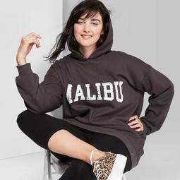 Women's Plus Size Long Sleeve Hooded Tunic Sweatshirt Malibu Graphic - Wild Fable™ Charcoal