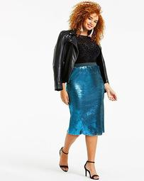 Sequin Pencil Midi Skirt