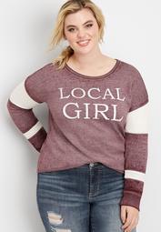 plus size local girl pullover sweatshirt