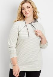 plus size stripe double hoodie pullover