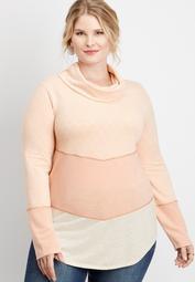 plus size chevron colorblock cowl neck pullover