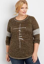 plus size faith graphic pullover