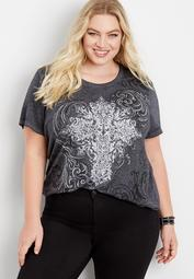 plus size studded cross graphic tee