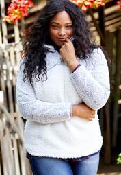 plus size colorblock sherpa pullover sweatshirt