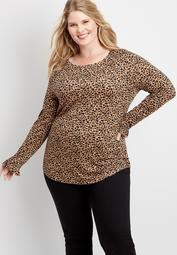 plus size 24/7 leopard long flutter sleeve tee