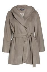 Wool Blend Hooded Wrap Coat
