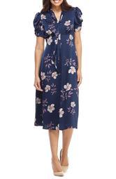 Floral Charmeuse Midi Dress