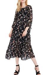 Sheer Tier Midi Dress