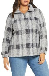 Quarter Zip Faux Fur Pullover