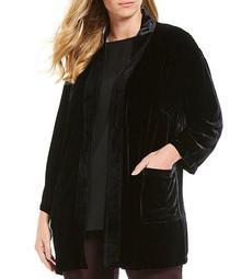 Plus Size Velvet Silk Blend Jacket