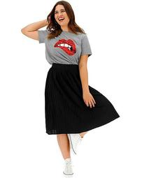 Pleat Jersey Midi Skirt