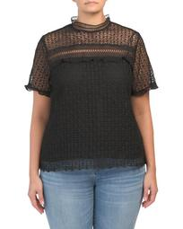 Plus Lace Top With Ribbon Detail