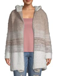 Absolutely Famous Womens Plus Size Ombre Eyelash Cardigan