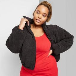 Women's Plus Size Corduroy Zip-Up Puffer Jacket - Wild Fable™ Black