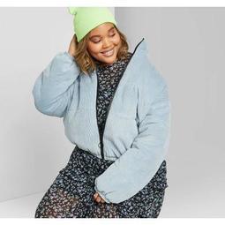 Women's Plus Size Corduroy Zip-Up Puffer Jacket - Wild Fable™ Teal