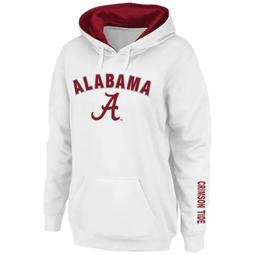 Women's White Alabama Crimson Tide Arch & Logo 1 Pullover Hoodie