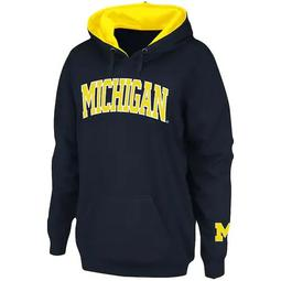 Women's Stadium Athletic Navy Michigan Wolverines Arch Name Pullover Hoodie
