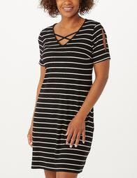 Plus Size Striped Crisscross-Neckline Split-Sleeve Dress