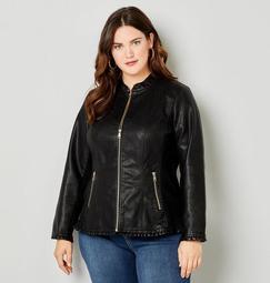 Ruffle Trim Faux Leather Jacket