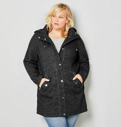 Hooded Stadium Jacket with Lace-Up Side Details