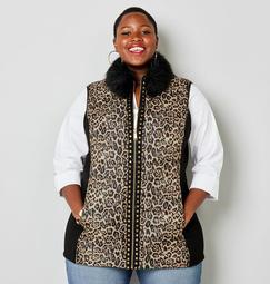 Animal Print Puffer Vest with Removable Faux Fur Collar
