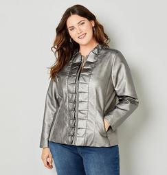 Ruffled Front Faux Leather Jacket in Pewter