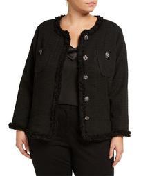 Plus Size Boucle Fringe Trim Jacket