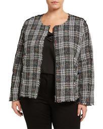 Plus Size Placed Plaid Boucle Jacket
