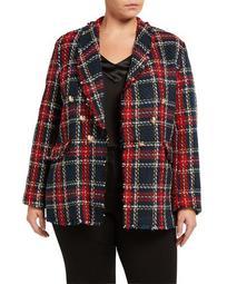 Plus Size Double-Breasted Tartan Plaid Boucle Jacket
