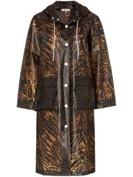tiger-print hooded raincoat