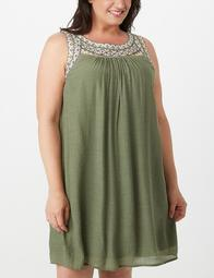 Plus Size Embroidered A-Line Dress