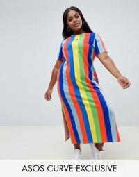 ASOS DESIGN Curve ultimate t-shirt maxi dress in rainbow stripe