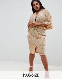 Flounce London Plus wrap front kimono midi dress in rose gold metallic