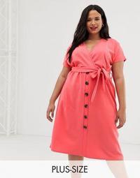 Boohoo Plus button through midi dress in pink